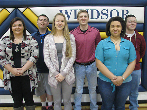 Photo furnished WHS Prom Court 2016 Windsor High School Prom Court: Back Row L to R: King candidates Zach Caywood, Tristan Warner, and Tyler Kemper. Front Row L to R: Queen candidates Breana Wiltermood, Autumn Bennett, and Raquel Jackson. Windsor High School will host prom April 30 at Mason Point Knights Hall in Sullivan. Coronation will be held at 7:30 p.m., and the dance will follow until 11 p.m. The theme is Rustic Romance.