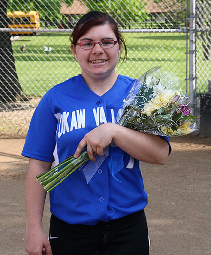 Photo furnished Okaw Valley Softball Senior Kaylee Thomas was the only senior on the 2016 OV softball team. Due to several rain delays, OV senior night was celebrated before the regional game May 18 in Crowder Park in Bethany.