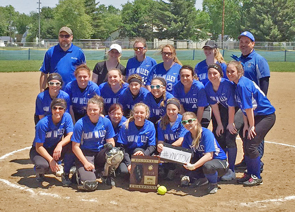 Photo furnished Okaw Valley high school softball team celebrates back-to-back Regional titles.