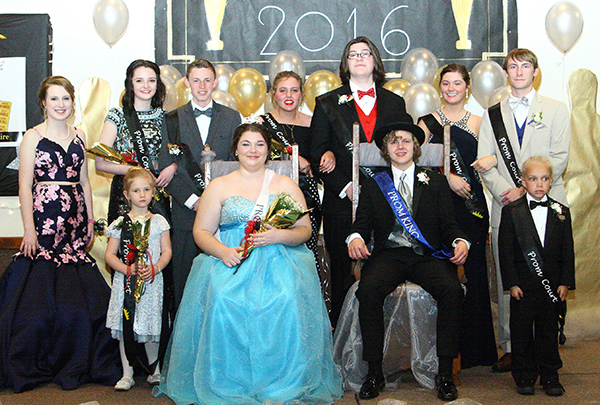 Photo courtesy Jeni Yantis Okaw Valley Prom Race Underwood and Samantha Degenhardt were crowned as the 2016 Okaw Valley High School Prom King and Queen Saturday, April 30 at the Mt. Zion Park FoundationCommunity Center. Front from left - Crown bearer Maggie Patient, 2016 queen Samantha Degenhardt, 2016 king Race Underwood and crown bearer Thiago Coney. Back row- Junior class president Brianna Creviston, candidates Hannah Dicken, Brandon Poper, Charli Uhlrich, Nic Brown, Nicole Miller and Justin Johnson.