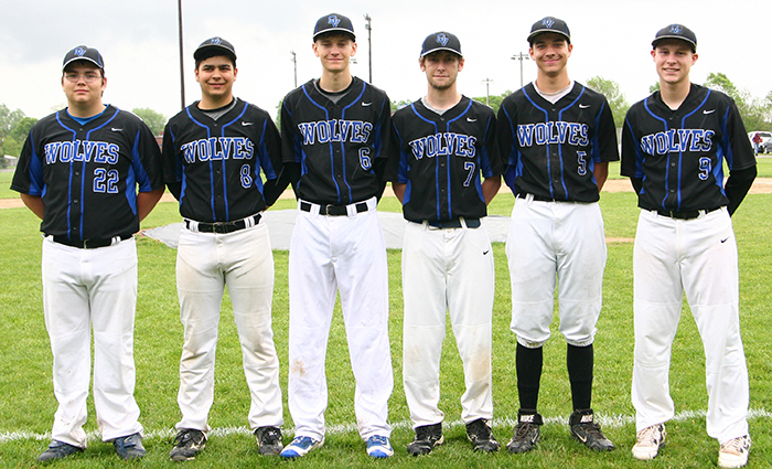 Photo furnished Okaw Valley Senior Timberwolves OV baseball held senior night Monday, May 9. Pictured are Austin Sutton, Ian Tiarks, Dylan Park, Justin Johnson, Drew Fruchtl and Alex Martin.