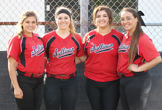 Photo by Darian Hays Lady Redskin seniors were honored during the last home game. From left: Abby Elzy, Heidi Clements, Dani Boyer and Seleste Smith.