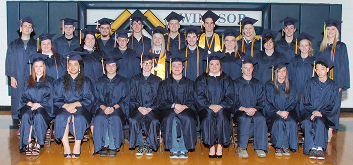 Photo courtesy Inter-State Studio Windsor High School Class of 2016 Twenty-six seniors graduated from Windsor High School at 7 p.m. Friday. WHS graduating class: Top row L to R Zach Caywood, Simon Carr, Chase Linn, Brad Kidwell, Tristan Warner, Mitchell Haddock, Autumn Bennett, Dalton McCormick, and Mercedez Austin. Middle row L to R: Shelby Lawrence, Hannah Miller, Devin Jones, Kristen Morlen, James Hortenstine, Taylor Reynolds, Dakota Beal, and Taylor Wiback. Front Row L to R: Harley Rogers, Raquel Jackson, Zach Salsiccia, Todd Elliott, Tyler Kemper, Breana Wiltermood, Christian Williams, Kesha Arthur, and Ethan Neal.