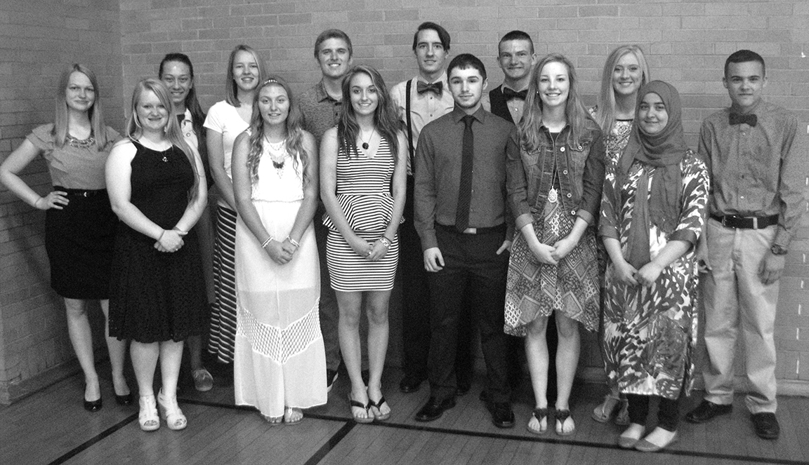 Photo furnished WHS National Honor Society Windsor High School National Honor Society inducted six new members at the Honor's Banquet April 27. Pictured are new and previous members. Back row L to R: Kristen Morlen, Caitlin Welsh, Autumn Bennett, Tristan Warner, Mitchell Haddock, Sterling Howard, Mercedez Austin, and Adam Hendershot. Front row L to R: Katherine Greuel, Bailey Fleshner, Kaitlin Armes, James Hortenstine, Mikayla Haddock, and Mehria Khan.
