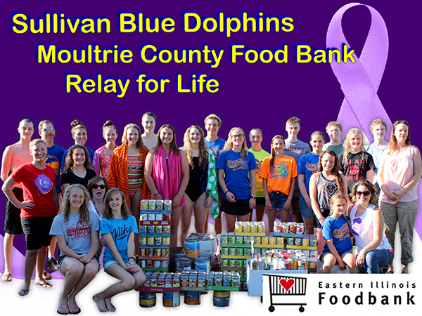 Blue Dolphin Food Drive Does Well Blue Dolphins coach Jason Drury once again set a goal for the Dolphins, and once again they went beyond his expectations. SBD set a summer food drive challenge of 600 cans. The total cans is 795. Not only are the Dolphins filling the Food Bank shelves this summer, they are also helping Relay for Life.  The Relay for Life team uses the cans to hold the luminaries and then turns them over to the Food Bank. Relay for Life Food Bank Donation Back Row: Brodie Goss, Coach Jason Drury, Brynna Sentel, Natalie Drury, Charlie Goss, Tyler Homann, Addison Graham, Ryan Schodlatz, Noah Kersten; 3rd Row: RFL Jessi Jess, Natalie Turnbaugh, Anna Wooters, Allison Oligschlaeger, McKenna Kull, Nicole Homann, Gabby Spain, Jessica Renfro, Mackenzie Erixon, CEFS Director Kristy Dawson; 2nd Row: RFL Diane Waggoner, Sofia Nuzzo Front Row: Calista Clark, Lilly Graham, Emily Crosier, RFL Jamie Crosier Photo furnished