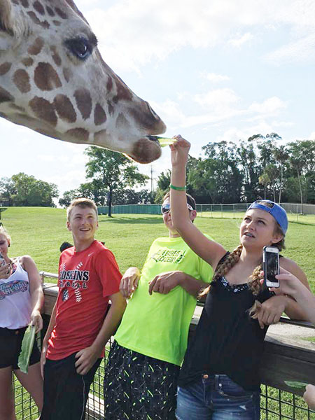 Photo furnished Giraffe feeding by Kiley Will with Dalton Rogers and Cullen Dyer looking on.