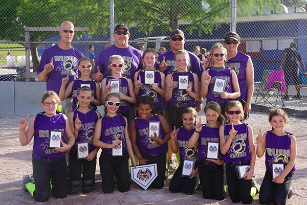 Photo furnished Pictured above is the 10U after winning the championship in Terre Haute. Front Row L-R: Breanna Gray-Decatur, Charley Condill-Arthur, Bailey Bennett-Bethany, Alaina Moore-Sullivan, Ayla Condill-Arthur, Mackenzie Condill-Arthur, Kacie Sisk-Arcola, Reese Nichols-Findlay . Middle Row L-R: Ella Kinkelaar-Mode , Alisha Frederick-Arthur, Kailee Otto-Arthur, Kaitlyn Drew-Villa Grove, Kayla Schnippel-Mt. Zion. Back Row L-R: Coaches Kurt Schnippel, Wes Frederick, Dru Bennett and Ginny Condill.