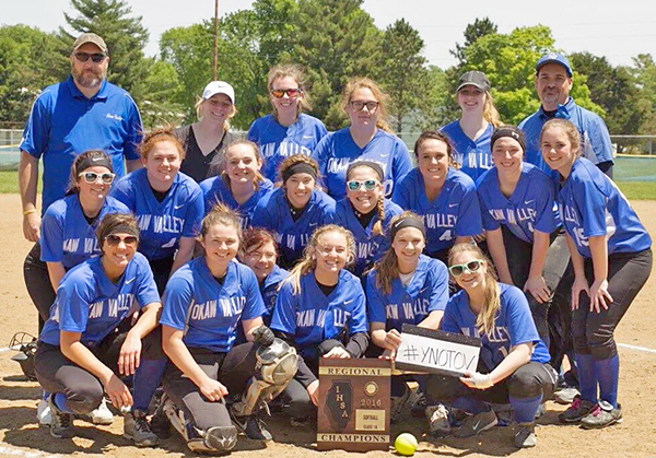 Photo furnished Regional Championship team Front row: Kailyn Boyer, Natalie Jeffers, Kaylee Thomas, Chloe Weybright, Paige Robinson, and Moranda Matheson; Middle row: Grace Harlin, Kayla Wheeler, Gracie Weybright, Dani Dick, Bella Benning, Jess Robinson, Madison Vogel, and Kailey George; Back row: Assistant Coach Wayne Perrine, Assistant Coach Samantha Inman, Maddie Perrine, Danielle Lochbaum, Kyra Jackson, and Head Coach Dave Benning. Timberwolves Softball Award Winners: Okaw Valley Timberwolves softball players were recognized during the recent sports banquet. Most Improved Player-Kailey George; Hustle Award-Kaylee Thomas; Outstanding Defensive Player-Paige Robinson; Outstanding Offensive Player-Natalie Jeffers and Grace Harlin; MVP-Maddie Perrine.