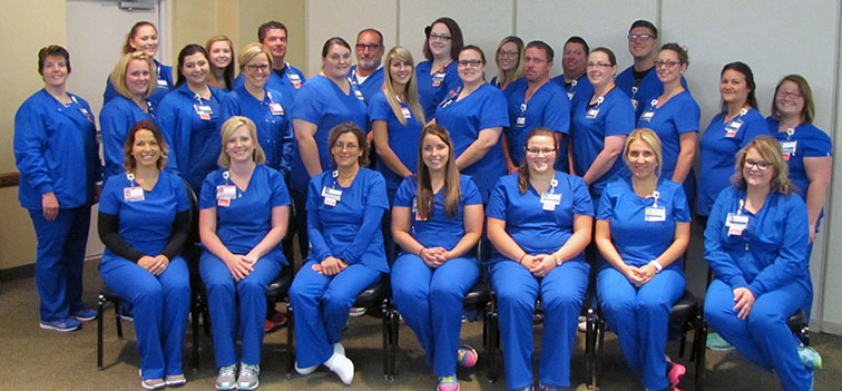 Photo furnished New nurse graduates entering Sarah Bush Lincoln's Nurse Residency Program are pictured left to right: first row – Casey Neville, Tara Biggs, Lisa Lawson, Emily Johnson, Hannah Jernigan, Tiffany McSparren, and Jessica Spence; second row – Cassie Riley, Megan Huddleston, Shelby Jackson, Kiersten Dent, Andrea Hutchinson, Lexi Walk, Kierston Oborne, Chris Roedl, Amber Waterman, Renea Phelps, Glenda Hunt, and Lexi Fiscus; third row – Cassie Will, Katy Augustyn, Todd Layton, Dwight Hardin, Haley Whitman, Marissa Klee, Jason Duhamell, and Andrew McDevitt. Not pictured are: Ali Barless, Jennifer Martinez, Amy Pippin, Hilary Bodle, Shelby Evinger, Nathan Raisner and Valentina Theole.