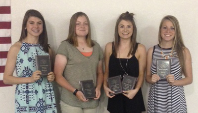 Photo furnished SOV Track Awards Banquet Award winners from the SOV girls' track banquet are from left to right:  Co-Captain-Ashlynd Risley, Co- Captain- Hannah Elzy, Co-Captain & Lady Redskin Award- Alyssa Marshall, High Points- Laine Cameron.