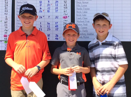 Photo furnished National Drive Chip and Putt Competitors (left to right) Jordan Bardfield of Mt. Zion, Lane Ludwig of Effingham and Brett Bushue of Sullivan.
