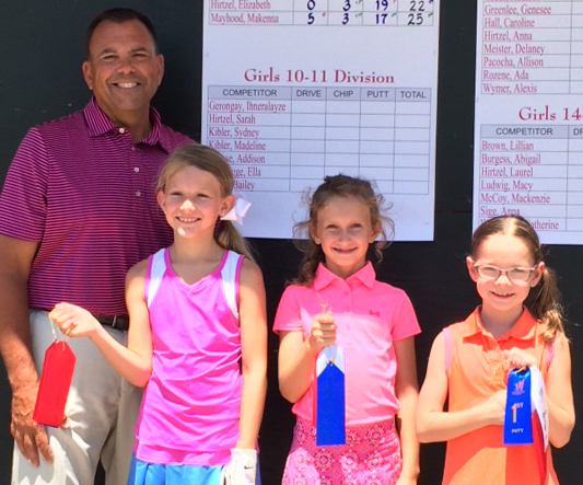 Photo furnished Girls' National Drive Chip and Putt competitors (left to right) Frank Chieppa who is employed with the PGA of America as Regional Manager of Player Development, Makenna Mayhood of Effingham, Kate Bushue of Sullivan and Elizabeth Hirtzel of Effingham.
