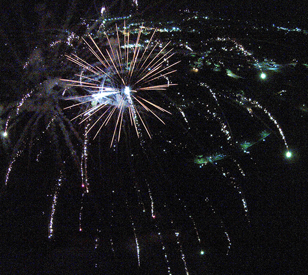 Drone shot by RR Best Pictured here is an aerial view of Wyman Park's 4th of July fireworks shot 399 feet in the air in Sullivan. Watch a video of the fireworks on our home page of this site.
