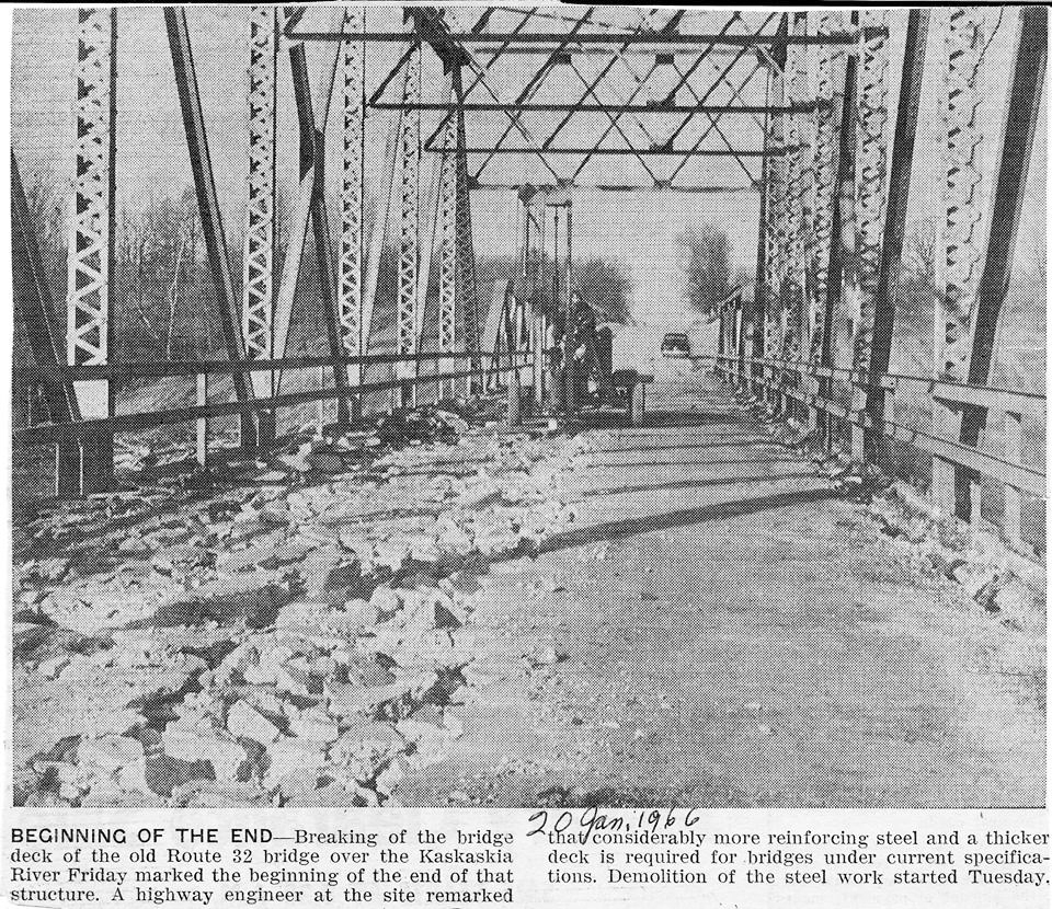 Pictured above is the breaking of the bridge deck of the old Route 32 bridge over the Kaskaskia River marking the beginning of the end of the structure. This photo was taken in early 1966. Please submit photos to the News Progress for future consideration. Originals will be saved for return or forwarded to Moultrie County Historical Society. If you have any other information, please contact the Moultrie County Historical Society at 217-728- 4085.