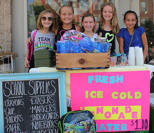 Lemonade for a Cause Five enterprising Sullivan elementary students served lemonade with a purpose on the square last Wednesday.  Darby Harden, owner of Gypsy Soul, where the Lemonade for School Supplies stand was set up on her front sidewalk, explained the students decided to accept school supply donations by selling lemonade. In addition to accepting supplies they were raising funds through donations to help students who need supplies when school begins August 22.  Harden said she would continue to accept school supply donations after the stand closes, turning the supplies and donations over to Sullivan schools. Those hawking lemonade and water for a dollar on the square were: Photo at left (from left) Callie Standerfer, Ruby Haegen, Bella Harden, Tessa Seeley, and Ava Shriver.