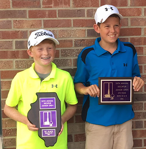 Photo furnished Sullivan Golfers Place in Junior Open Two Sullivan Golfers Placed in the Decatur Junior Open.  Drew Rogers shot a two day total of 184 to win the 12-13 year old division and Logan Westjohn shot a 206 to finish fourth in that division. Both will be in eighth grade in Sullivan this year.  They played at Hickory Point Golf Course in Decatur July 25 and 26.