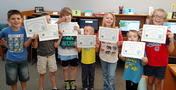 Photo furnished Lovington Library Angry Bird participants left to right: Ross Young, Lucas Ayer, Connor Tipton, Jacob Collins, Hannah Collins, Willie Brohez, Rylan Young.