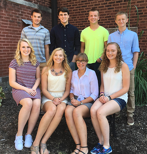 The Okaw Valley High School 2016 Homecoming Court Homecoming is Sept. 17 for Okaw Valley High School. Front row (L to R): Brianna Creviston, Kristy Burford, Madison Uhlrich, and Jasmine Baumbarger. Back row (L to R): Evan Blakey, Brendon Lane, Ty Nichols, and Skyler Birch.