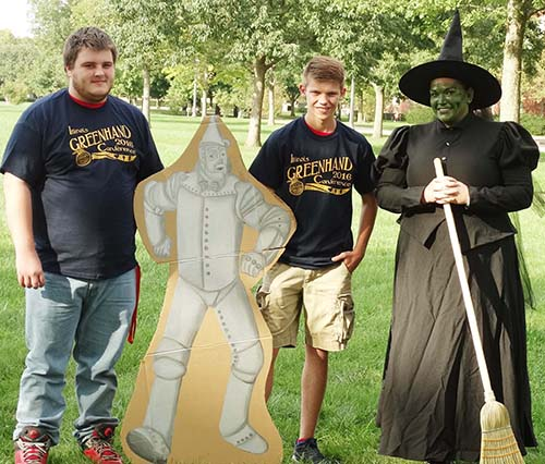 Photo furnished ALAH FFA members Brennan Key and Clayton Young pose with the TIn Man and the Wicked Witch of the West (Dr. Ericka Thieman) at the U of I Greenhand Conference.