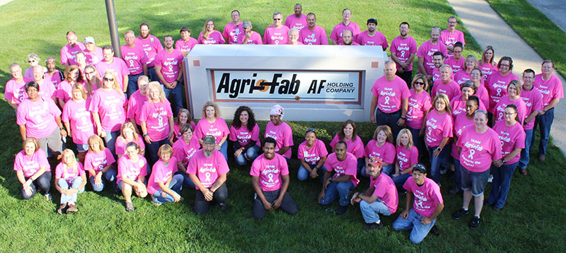 Photo by Mike Brothers Pink Shirts Show Support at Agri-Fab  October is Breast Cancer Awareness month and Agri-Fab employees are going pink to help spread the word. Every Friday during the month of October more than 100 employees wear pink Agri-Fab Breast Cancer Awareness shirts as part of the company's ongoing community outreach. Money raised from the sale of the pink shirts is donated to Moultrie County Relay for Life.