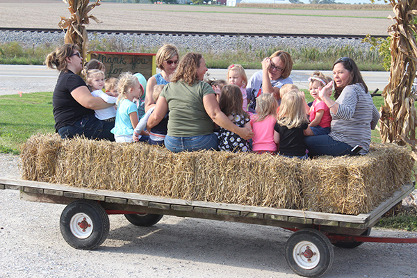 Photo by RR Best Hay Ride at Buxton's Garden Farm The Moultrie County Bright Start play group took a field trip to Buxton's Garden Farm Thursday, Oct. 6. The children were taken on a hay ride and got to jump on the giant ground trampoline. Bright Start is a free play group program that is funded through the Illinois State Board of Education for children birth thru age three who reside in Moultrie County. Play groups meet on Thursday mornings from 9 to 10:30 at the Early Intervention building at 203 S. Graham St. in Sullivan. For more information call Amy Eller at 728-7396.