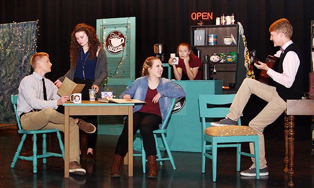 "Photo Furnished On stage for OVHS production of ""Dead to the Last Drop"" are Skyler Birch, Sydney Hagerman, Brianna Creviston, Hannah Landreth and Gavon Hargrove."