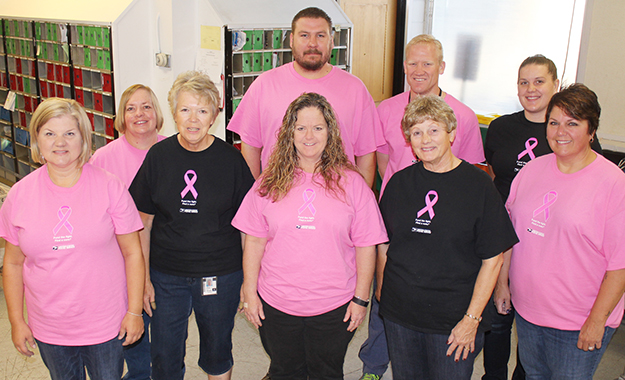 Photo by RR Best Postal in Pink Sullivan postmaster Cindy Temple, Shelby Boyer, Jon Garvey, Kyle Wickline, Malora Lowery, Doris Williamson, Jackie James, Joy Byers and Leanna Fletcher are increasing breast cancer awareness through October. All employees at Sullivan and Windsor post offices bought shirts to show support during breast cancer awareness month.