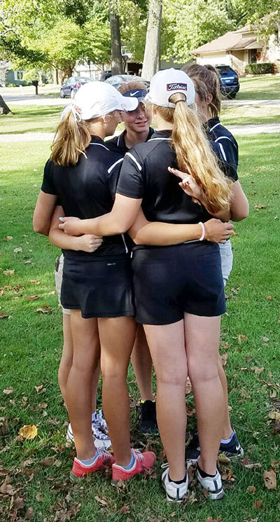 Photo furnished Sullivan Lady Redskins Golf team bonded after competing in the 1A IHSA Sectional tournament in Lincoln.