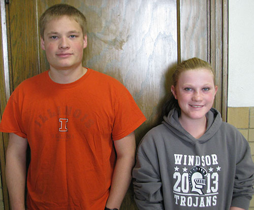 Photo furnished Windsor Schools' Students of October Noah Boyer, son of Karen Boyer and Travis and Trisha Boyer, has been selected as Windsor High School's October Student of the Month. Boyer plans to graduate in December and attend Lake Land College in the spring. Lillian Sims, daughter of Hank and Mary Sims, is Windsor Jr. High School's Student of the Month for October. She is an eighth grader and plays volleyball.