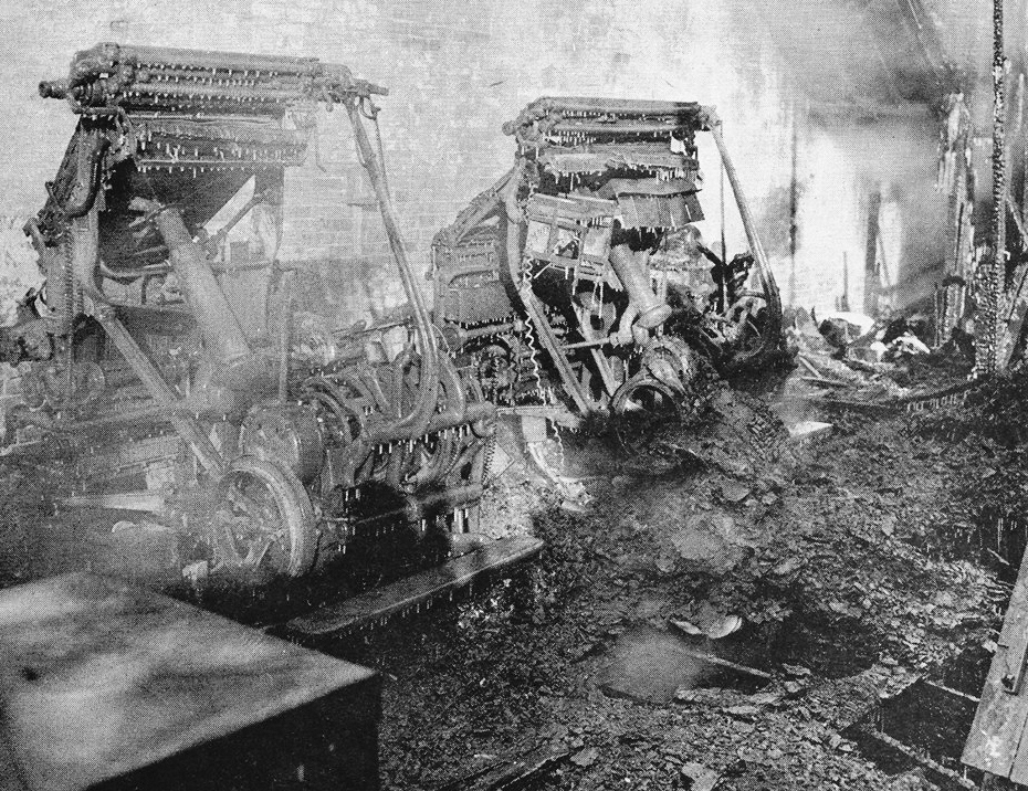 The Moultrie County News had a fire that destroyed their building and contents in January of 1948. Pictured above are Linotype machines that were destroyed by the fire. Please submit photos to the News Progress for future consideration. Originals will be saved for return or forwarded to Moultrie County Historical Society. If you have any other information, please contact the Moultrie County Historical Society at 217-728- 4085.