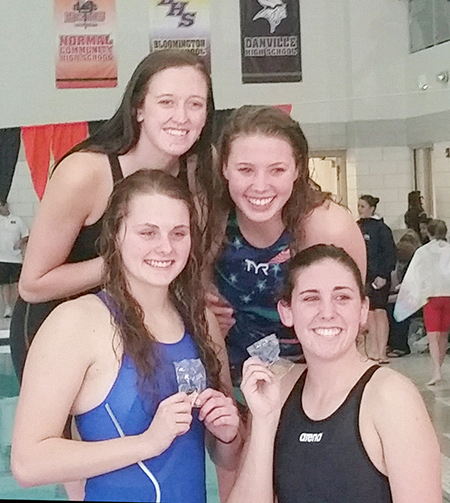 Photo furnished SOV Swim team won first in the 200 Freestyle Relay with a time of 1:40.41 Brynna Sentel, Anna Wooters, Natalie Drury, McKenna Kull.
