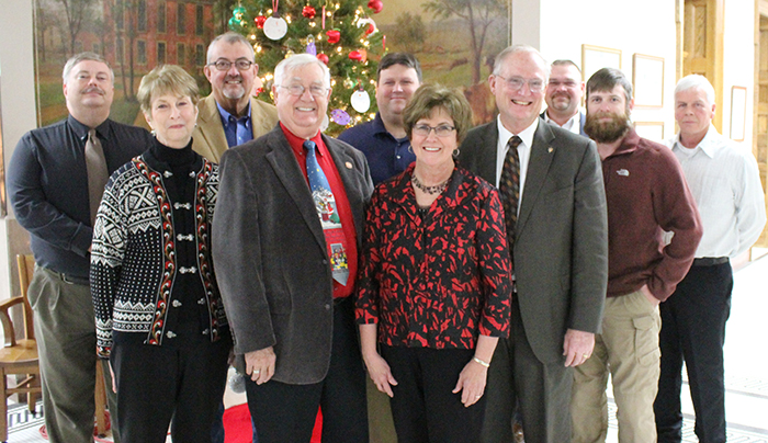 Photo by Mike Brothers The Moultrie County Board reorganized after the election with the first meeting held Dec. 15. Pictured from left: Kevin McReynolds, Arlene Aschermann, Gary Smith, vice chair Ron White, Mike Barringer, County Clerk Georgia England, board chair Dave McCabe, Bill Voyles, Tim Rose and Todd Maxedon.