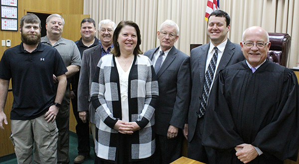 Photo by Mike Brothers Newly Elected County Officials Judge Dan L. Flannell administered the oaths of office to Moultrie County officials December 1. They were elected during the November 8, 2016 election. Pictured above from left: Republican county board members Tim Rose, Kevin McReynolds, Mike Barringer and Ron White. Democrat Moultrie County circuit clerk Cindy Braden, Republican coroner Lynn Reed, Republican state's attorney Jeremy Richey and Judge Flannell who administered his final oaths as Chief Judge of the Sixth Judicial Circuit.