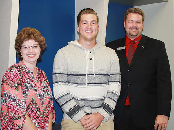 Photo furnished Scholarship for Sullivan Grad Nick Frerichs of Sullivan has been named the recipient of the US Bank Scholarship awarded through the Kaskaskia College Foundation at Kaskaskia College in Centralia. Frerichs is a graduate of Sullivan High School and is a sophomore at KC. He is the son of Dan and Kerri Frerichs and a member of the Kaskaskia College Blue Devils Baseball Team. Pictured are Pam Prather and Brad Haege of US Bank and Nick Frerichs (center).
