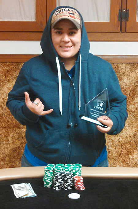 """Photo furnished Texas Hold'em Winner """"Cool Hand"""" Luke Dorsey wonthe Bethany American Legion Post 507 poker tournament held onDec 10.  Dorsey is the first two-time winner of the 11th annual event. He bested a field of 63 players and 98 total entries to secure the victory. The annual Texas Hold'em tournament benefits the scholarship program for students of Okaw Valley High School."""