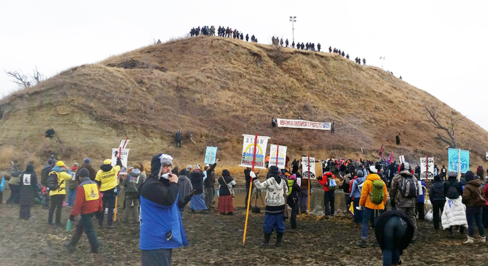 Photo furnished Turtle Island was the scene of prayer by Water Protectors at Standing Rock on Thanksgiving Day.