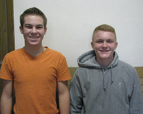 Photo furnished November Students Nicholas Hutchinson, son of Jim Hutchinson, and Kyhe Wheeler, son of Chris and Kelly Wheeler, are November Students of the Month at Windsor Jr./Sr. High School.   Hutchinson, a senior, is involved in basketball, baseball, student council,WYSE, physics club, and pep club.  He plans to attend Lake Land College to study biology and play baseball.  Wheeler is an eighth grader and participates in basketball, FFA, and team quest.
